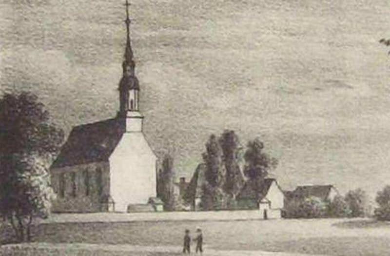 Alte Ansicht der Kirche Rödern